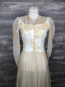 30s Flocked Orchid Wedding Dress