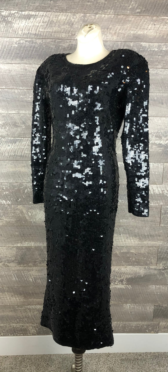 80s Liquid Sequined Black Sweater Dress
