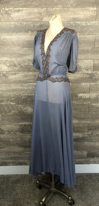 40s periwinkle sheer rayon embellished beaded dress