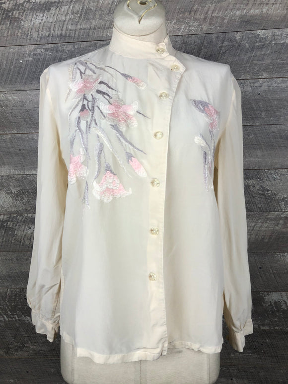 50s era Embroidered Silk Blouse