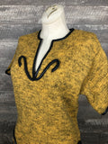 80s mustard wool and leather sweater dress