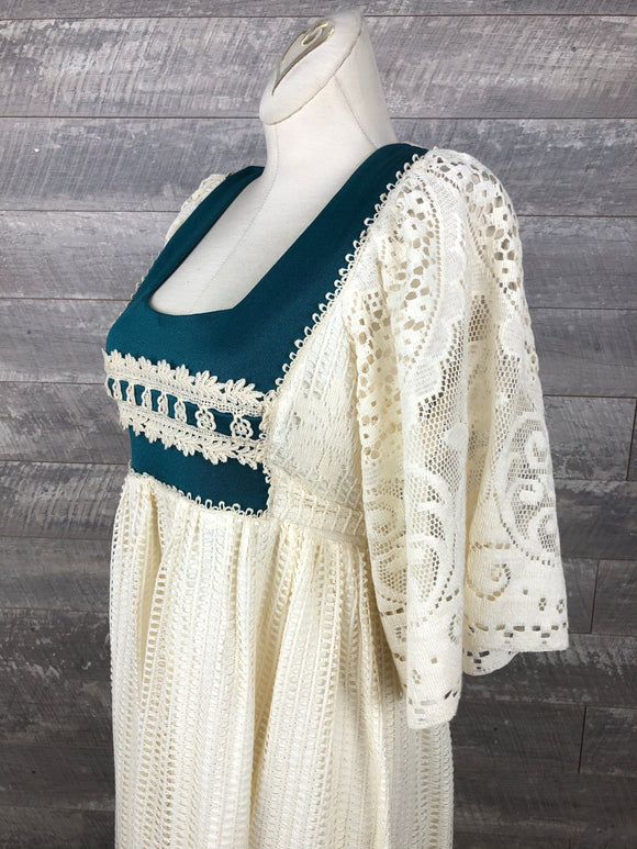 70s Lace Prairie Dress