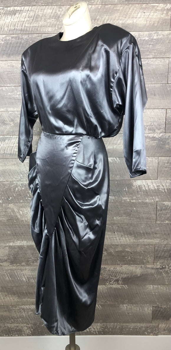 80s Liquid Pewter Draped Party Dress