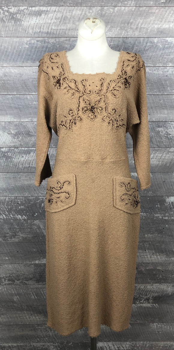 Vintage 40s snyderknit cinnamon oatmeal sweater dress