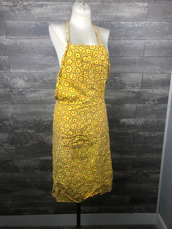 60s Bib Apron in Yellow Calico