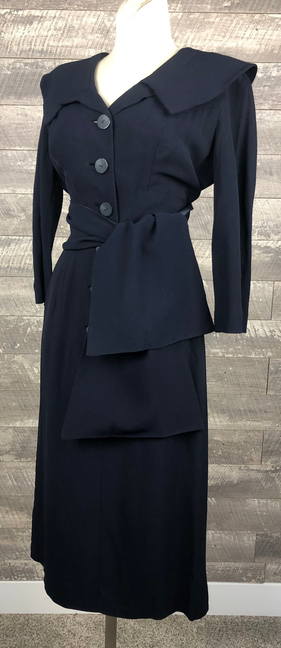 40s Benham Navy Rayon Sash Waist Dress