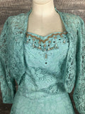 Vintage 50s blue lace gown with jacket