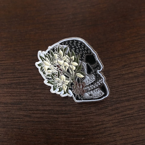 Azalea flowers on a Skull Enamel Pin
