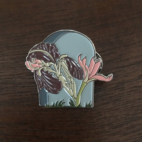 Iris on a Headstone Enamel Pin