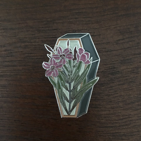 Oleander on a Coffin Enamel Pin