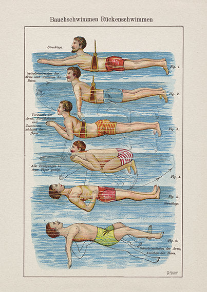 Fun Swimming Man Art Print - Vintage Swimmer Poster - Bauchschwimmer - Museum Quality