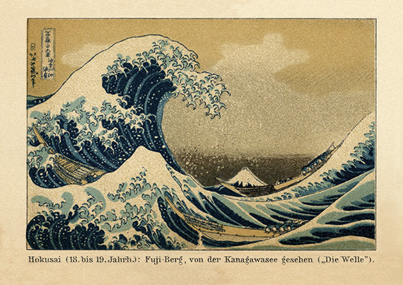 Vintage Art Print of Hokusai Wave Kanagawa with German Subtitles