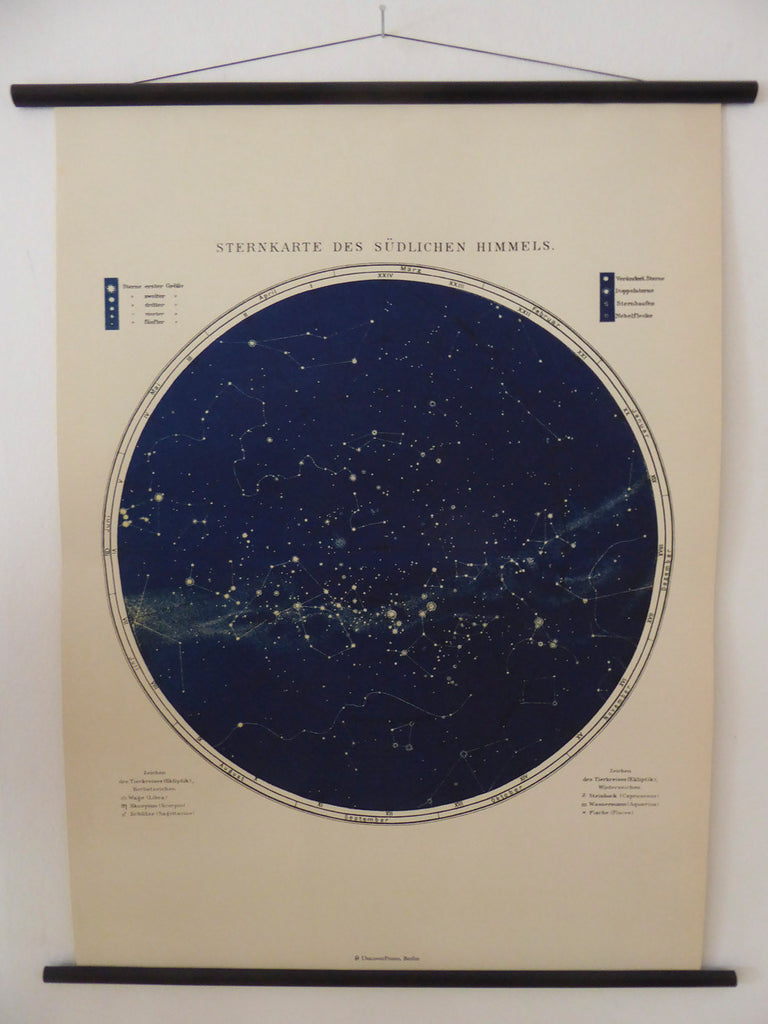 "Large A1 (25"" x 33"") Vintage Star Map School Chart - Astronomy Poster - Astrology Poster - Southern Hemisphere Pull Down Chart"