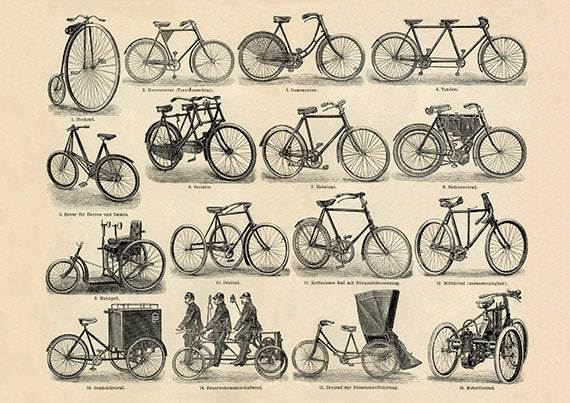 Old-timey Bicycles Art Print - Vintage Bike Illustration -  Vintage Bicycle Poster - Vintage Bicycle Print - Museum Quality