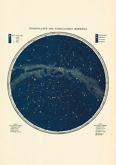 Star Map - Astronomy Poster - Astrology Poster - Northern Hemisphere Fine Art Print - Milky Way Print - Museum Quality