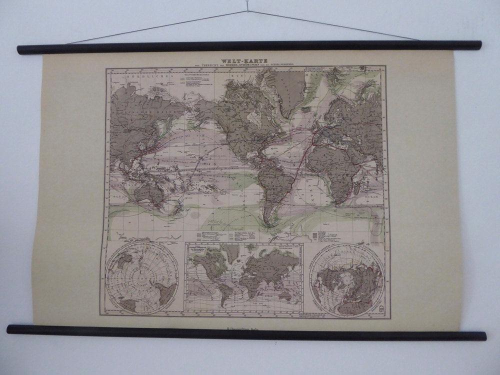 "Large A1 (33"" x 25"") Vintage World Map - World Map Ocean Current Poster - World Map Wind Pattern School Chart - Antique Style"