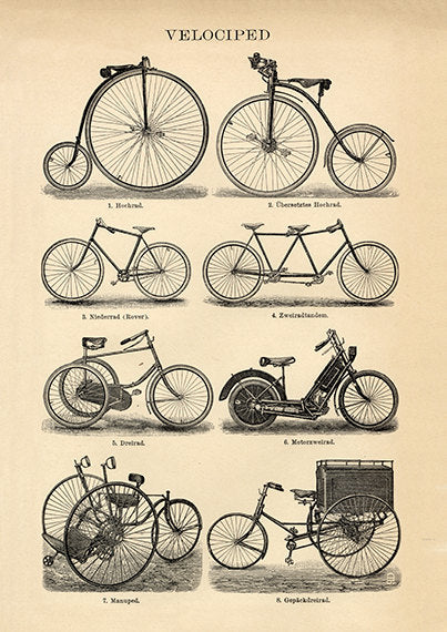 Old Bike Styles Art Print - Bike Wall Art Poster - Museum Quality - Vintage Bicycle Poster - Vintage Bicycle Print - Museum Quality