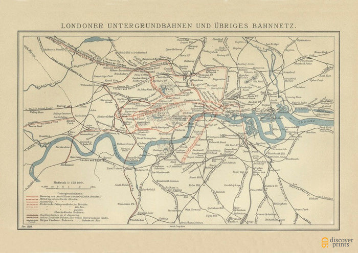 19th Cent. London Underground Tube Art Print - Vintage Subway Map - History Poster - Museum Quality