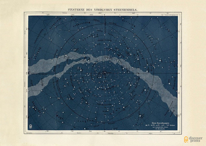 Starmap Northern Hemisphere Art Print - Milky Way Astronomy Illustration - Vintage Science Wall Art - Museum Quality