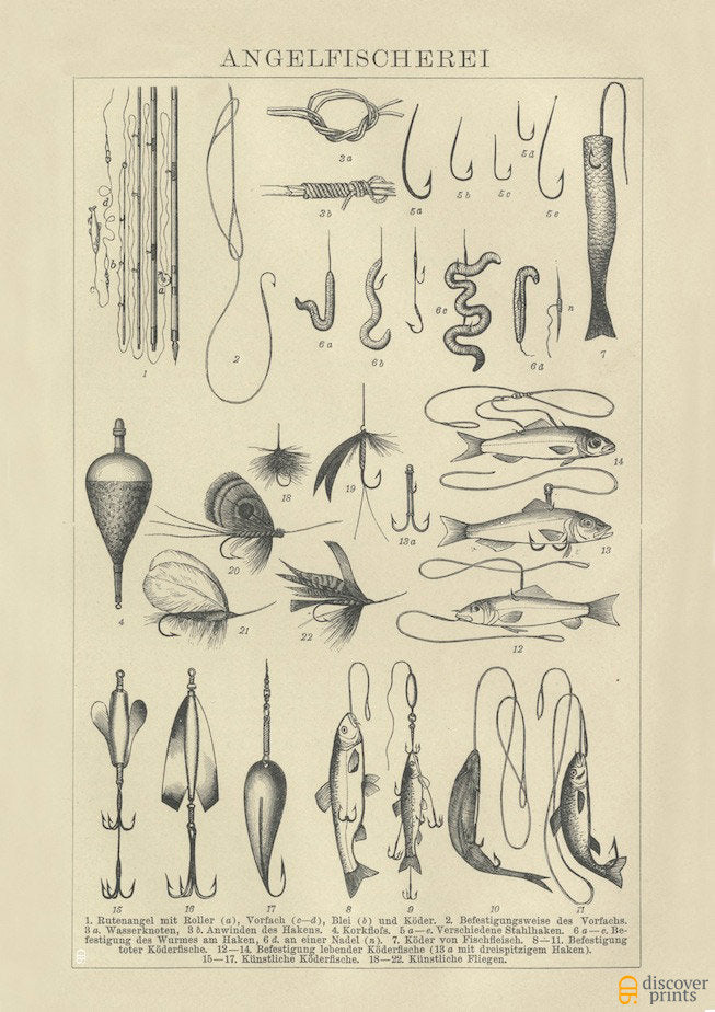 Fishing Lures Art Print - Vintage Marine Illustration c. 1890 - Antique Wall Art - Museum Quality