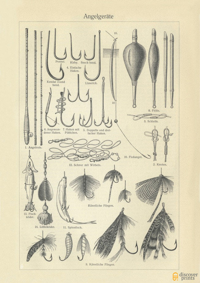 Fishing Tools Art Print - Vintage Marine Illustration c. 1890 - Antique Wall Art - Museum Quality