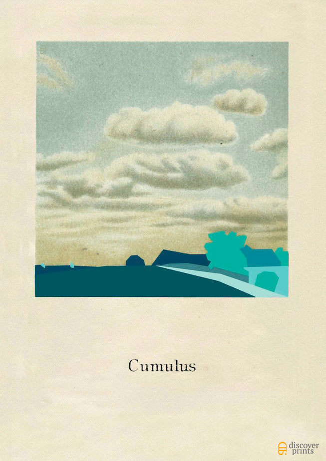 Teal Cumulus Cloud Modern Art Print - Contemporary Illustration - Museum Quality