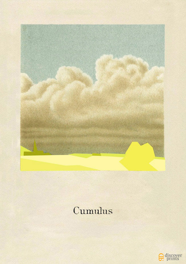 Yellow Cumulus Cloud Modern Art Print - Contemporary Illustration - Museum Quality