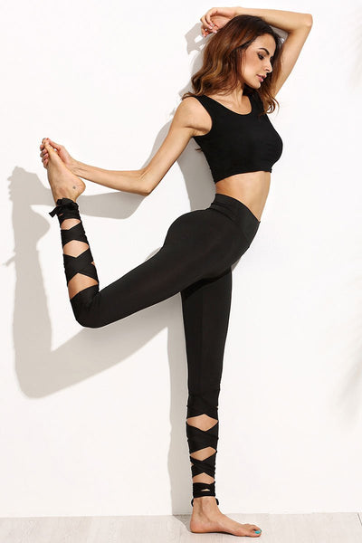 Lace Up Leg Capri Yoga Pants