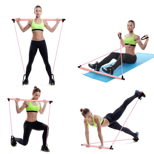 PORTABLE PILATES BAR KIT WITH RESISTANCE BAND-noixoy