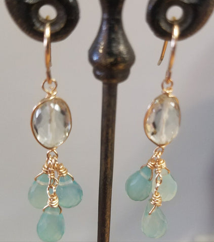 Calcedoney and Green Amethyst earrings