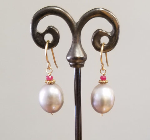 Lusterous Pearl with Ruby earrings