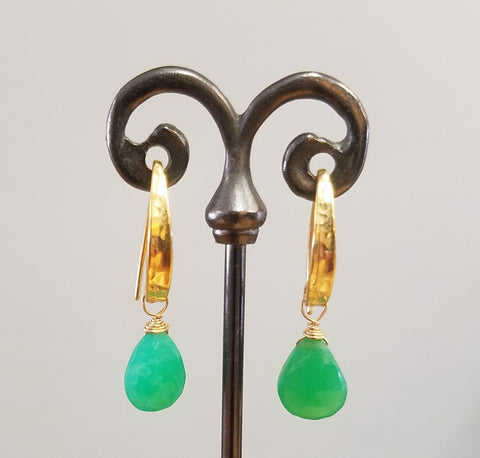 Hammered ear wires and shiny Chrysophrase
