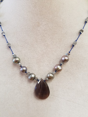 Chocolate Moonstone and pearls on silk