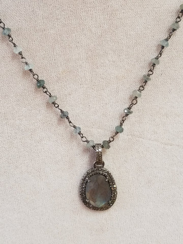 Labradorite, Diamonds and Aquamarine Necklace