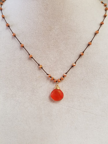 Carnelian and crystals on silk