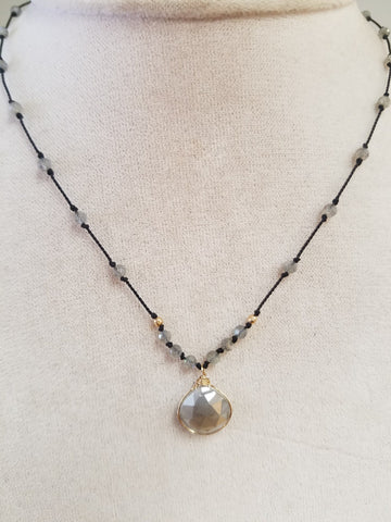Labradorite with a Silvernite wrapped pendant on silk