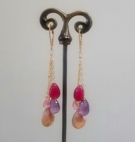 Red, pink and purple earrings
