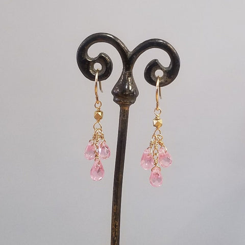 Pink Zircon droplets earrings