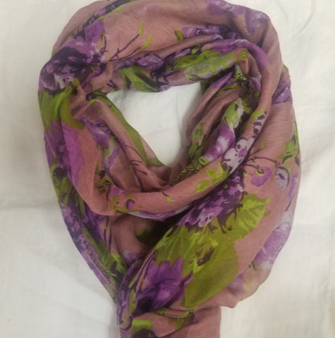 Purple and green rose scarf
