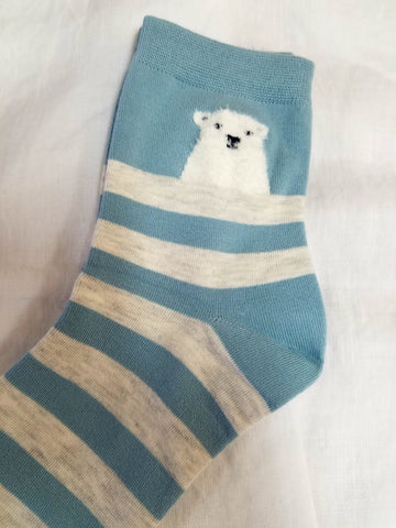 Plush polar bear socks