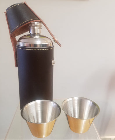 Flask with two cups