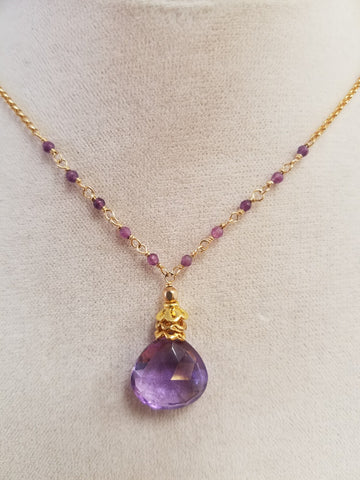 Large Amethyst drop Neckalce