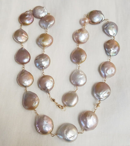 Lusterous Coin Pearl Necklace or Bracelet