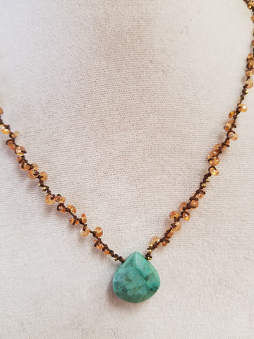 Amazonite, steel cut and Mandarin Garnet