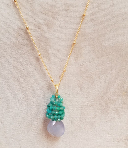 Amazonite cluser Necklace