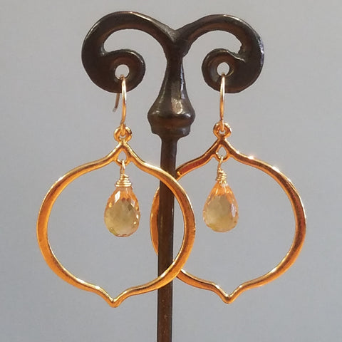 Citrine flame earrings