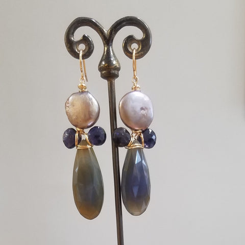 Chalcedoney, Iolite and Pearl earrings