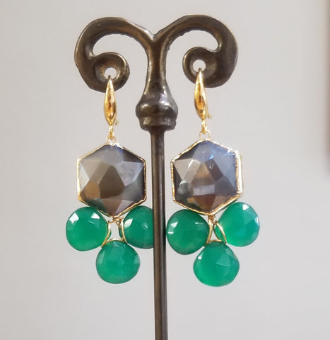 Green Onyx and Moonstone earrings