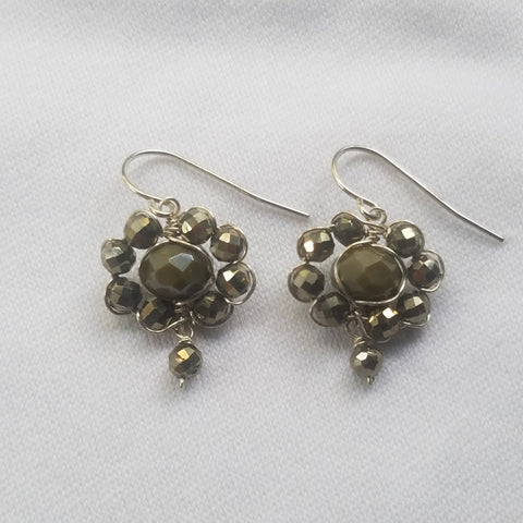 Pyrite flower earrings