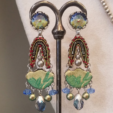 Blue and green Ayala Bar earrings